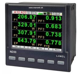 ND30 3-fázový analyzátor siete s Ethernetom