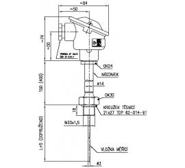 Termoelektrický snímač teploty do jímky s termočlánkem Ø 3 mm