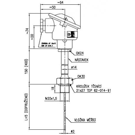 113 15 Termoelektrický snímač teploty do jímky s termočlánkem Ø 3 mm