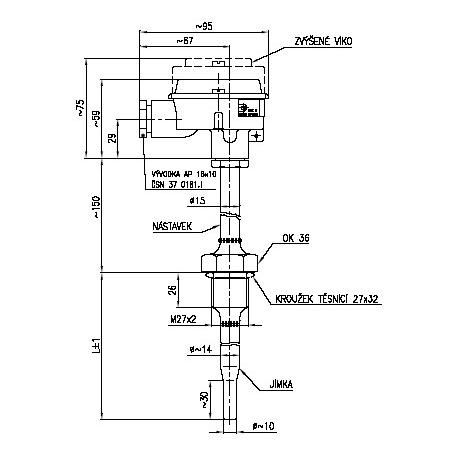 Termoelektrický snímač teploty s jímkou s vyšší mechanickou odolností