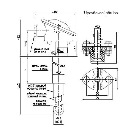 Termoelektrické snímače teploty tyčové s keramickou ochrannou trubkou s termočlánkem S, B nebo K