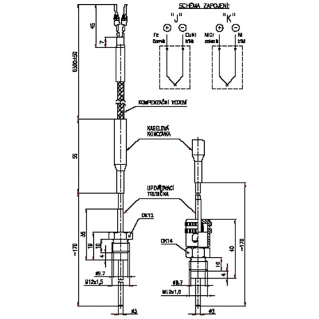 Termoelektrický snímač teploty s kabelovým vývodem plastikářský