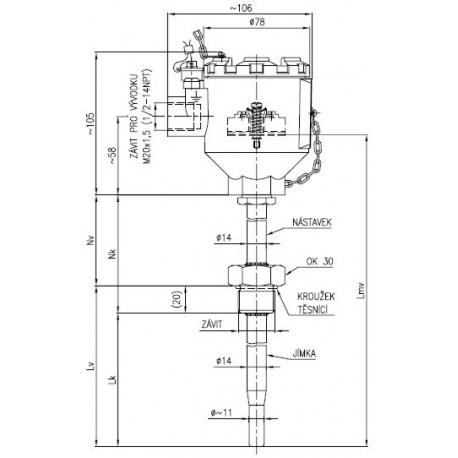 Termoelektrický snímač teploty Ex d s jímkou DIN bez převodníku nebo s převodníkem