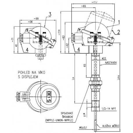 Termoelektrický snímač teploty do jímky DIN se spojovacím šroubením na nástavku bez převodníku nebo s převodníkem