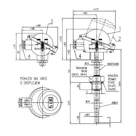 Termoelektrický snímač teploty s jímkou ČSN bez převodníku nebo s převodníkem