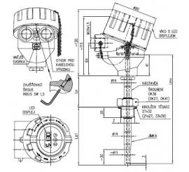 Termoelektrický snímač teploty Ex d s jímkou ČSN bez převodníku nebo s převodníkem