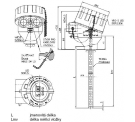 Termoelektrický snímač teploty tyčový Ex d s kovovou ochrannou trubkou bez převodníku nebo s převodníkem