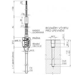 T1061,T1561 Snímače teploty plastikářské a ložiskové s kovovou ochrannou hadicí kabelu