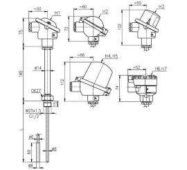 T1503 Termoelektrický snímač teploty do jímky bez prevodníka