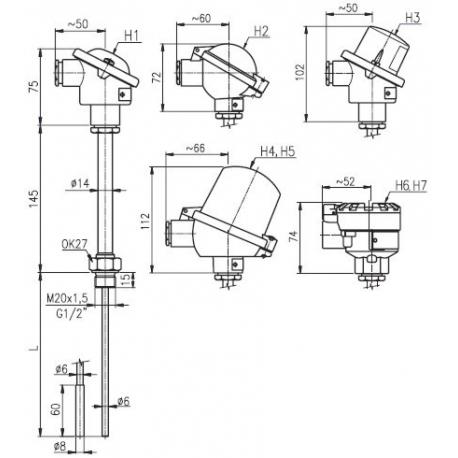 T1503 Termoelektrický snímač teploty do jímky bez převodníku a s převodníkem