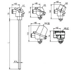 T1006 Odporový snímač teploty tyčové bez převodníku nebo s převodníkem