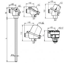 T1504 Termoelektrický snímač teploty tyčový bez převodníku a s převodníkem