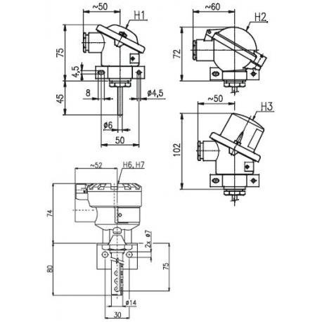 T1010 Odporový snímač teploty prostorový bez převodníku a s převodníkem