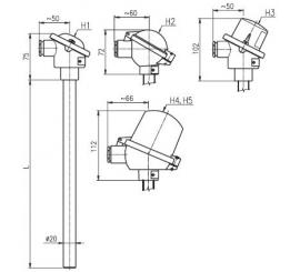 T1505 Termoelektrický snímač teploty tyčový bez převodníku a s převodníkem