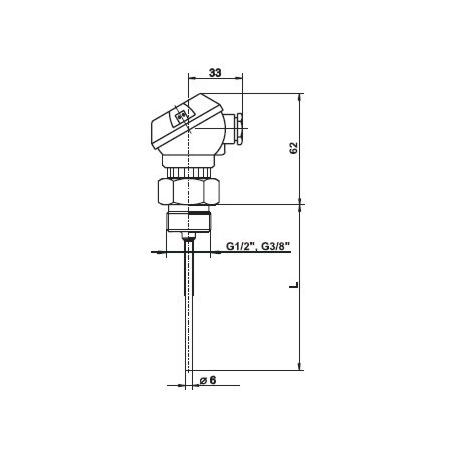 T1024 Odporový snímač teploty plášťový bez jímky s hlavicí MA