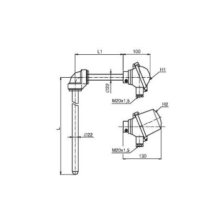 T1506 Termoelektrický snímač teploty tyčový úhlový bez převodníku a s převodníkem