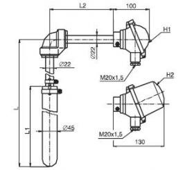 T1507 Termoelektrický snímač teploty tyčový úhlový s ochrannou trubkou z SiC