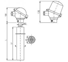 T1508 Termoelektrický snímač teploty tyčový s keramickou trubkou z SiC