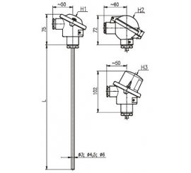 T1511 Plášťový termoelektrický snímač teploty bez převodníku a s převodníkem