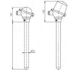 T1512 Termoelektrický snímač teploty tyčový s ocelovou ochrannou trubkou bez převodníku a s převodníkem