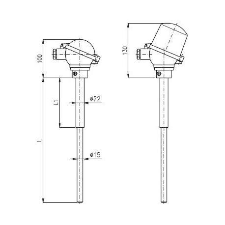 """T1525 Termoelektrický snímač teploty """"S"""", """"B"""" tyčový s keramickou ochrannou trubkou C799 bez převodníku a s převodníkem"""