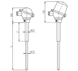T1526 Termoelektrický snímač teploty tyčový s keramickou ochrannou trubkou C610 bez převodníku a s převodníkem