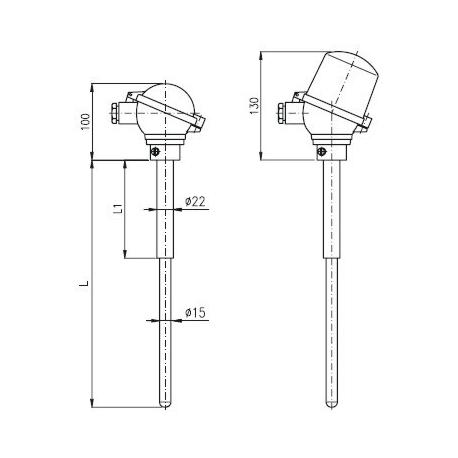 T1528 Termoelektrický snímač teploty tyčový s keramickou ochrannou trubkou C610 bez převodníku a s převodníkem