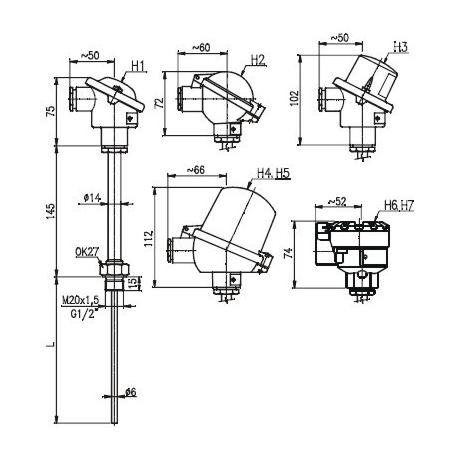 T1529 Termoelektrický snímač teploty bez jímky bez převodníku a s převodníkem