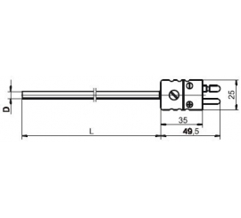T1533 Plášťový termoelektrický snímač teploty s plochým konektorom
