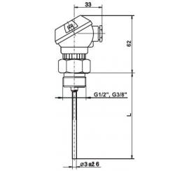 T1534 Plášťový termoelektrický snímač teploty bez jímky a hlavicí MA