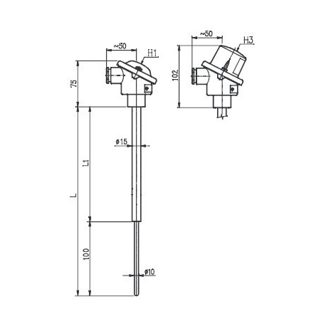 T1536 Termoelektrický snímač teploty tyčový s keramickou ochrannou trubkou C610 nebo C799 bez převodníku a s převodníkem