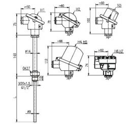 T1502 Termoelektrický snímač teploty s jímkou bez prevodníka