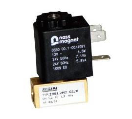 Elektomagnetický ventil  dvojcestný priamoovládaný 2VE1.2M, 2VE1.6M1, 2VE2M1, 2VE2.5M1, 2VE1.2M2, 2VE1.6M2, 2VE2M2