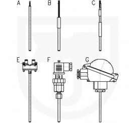212 Odporový snímač teploty bez ochranné armatury