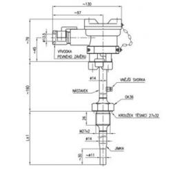 113 69  Termoelektrický snímač teploty Ex d s jímkou