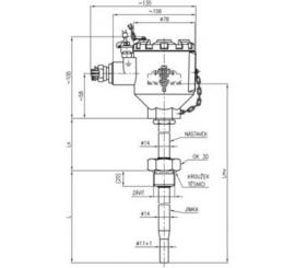 304 Termoelektrický snímač teploty Ex d s jímkou DIN