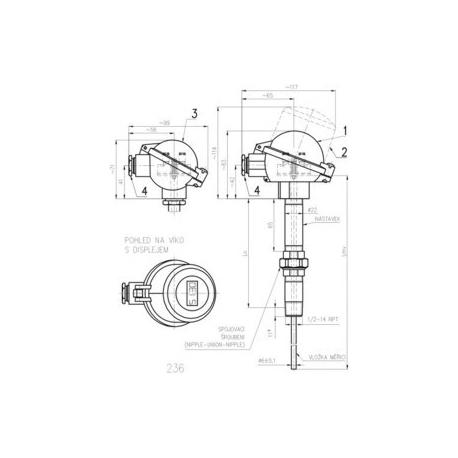 336 Termoelektrický snímač teploty do jímky DIN
