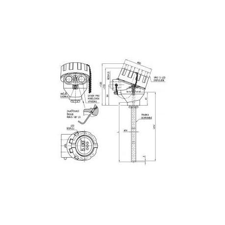 352 Termoelektrický snímač teploty tyčový Ex d s kovovou ochrannou trubkou